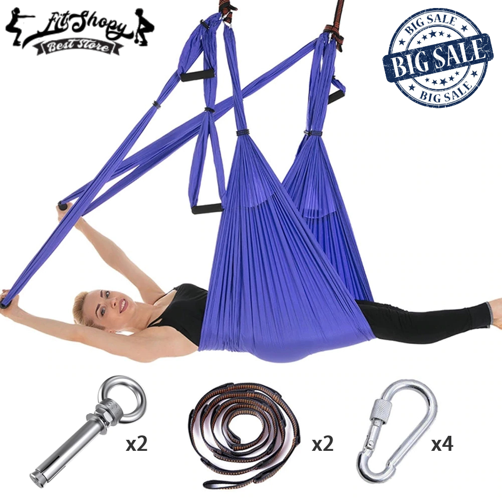 14fca487e6 Full Set 6 Handles Anti-gravity Aerial Yoga Hammock Flying Swing Trapeze  Yoga Inversion Exercises Device Home GYM Hanging Belt | Fit Shopy